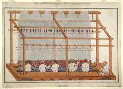 A pile-carpet loom being worked at Hunsur (Mysore)